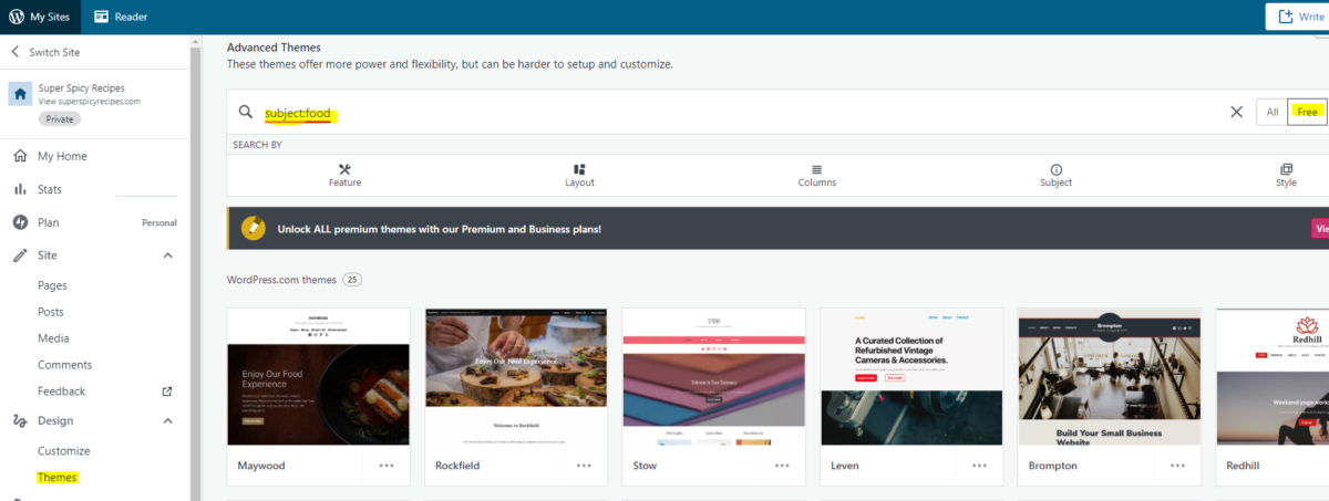 Choose your WordPress theme blog design